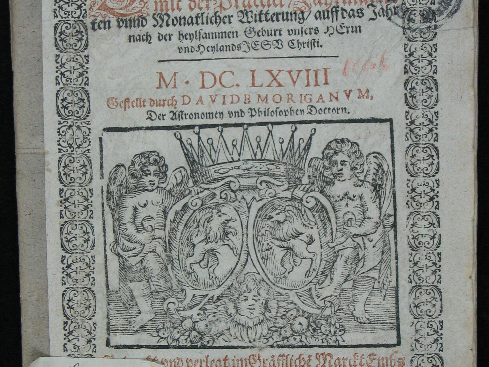 Das älteste bekannte Exemplar des Hohenemser Schreibkalenders, von Bartholomäus Schnell, dem Jüngeren, 1668 gedruckt.