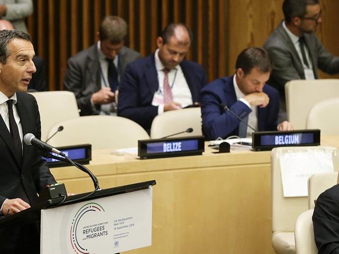 Bundeskanzler Christian Kern im Rahmen des UN-Flüchtlingsgipfels in New York am 19. September 2016.