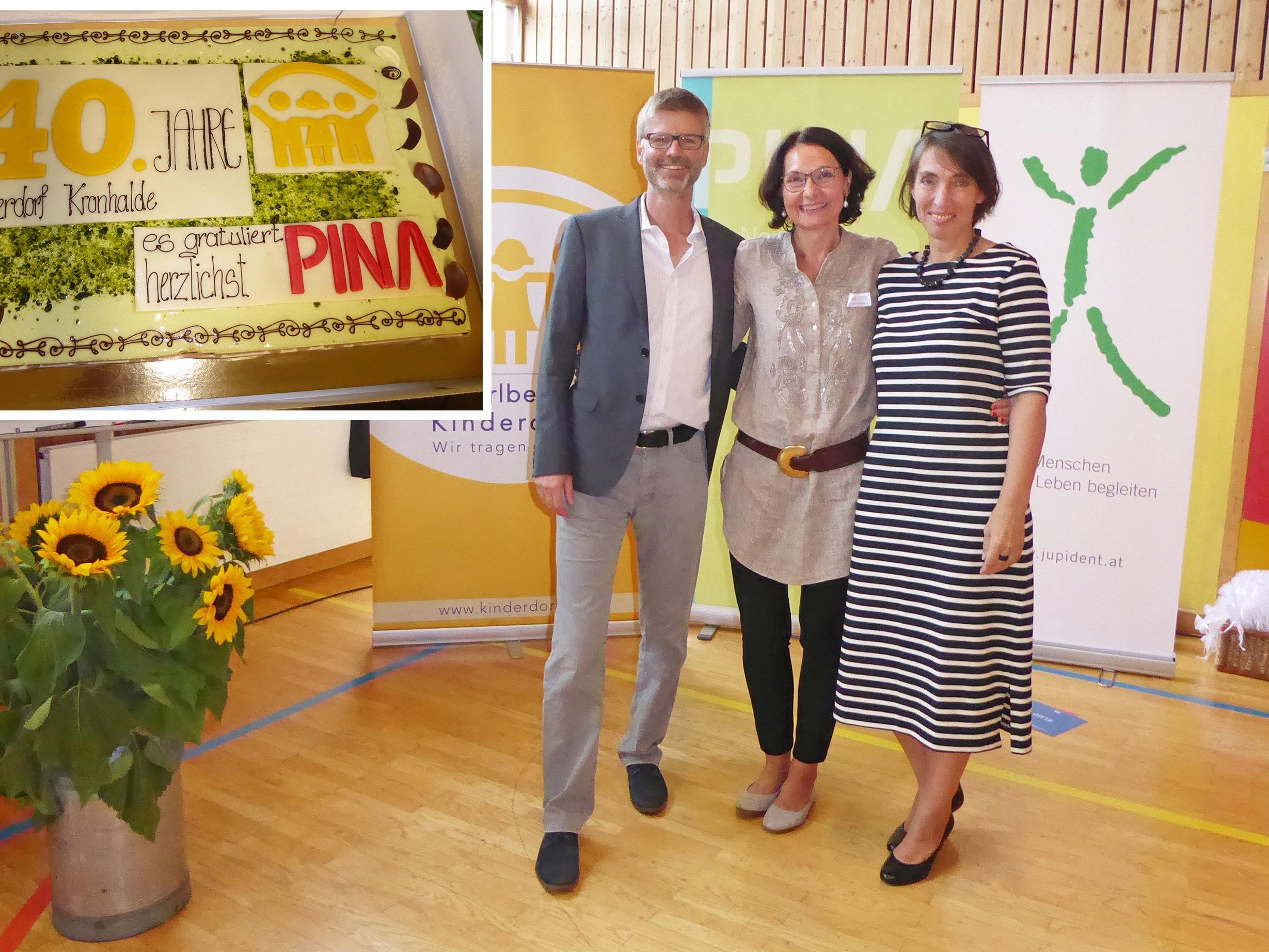 Referent Hans-Joachim Görges, Referentin Lydia Hantke, Verena Dörler Leiterin des Kinderdorfs Kronhalde (Mitte)