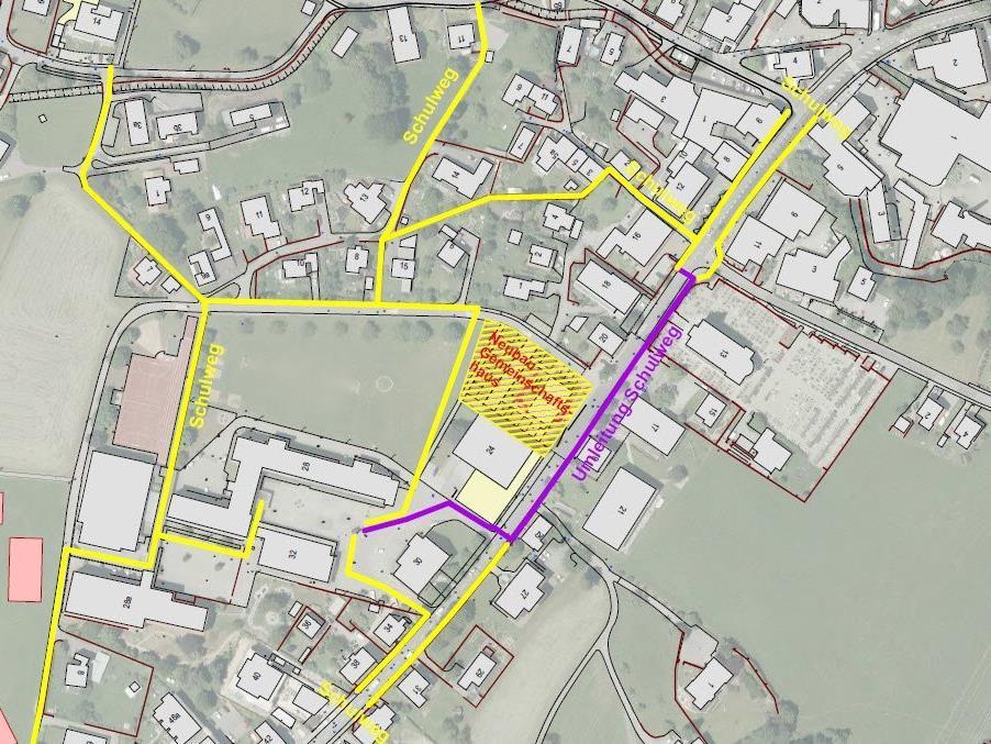 Umleitungsplan für Fußgänger während der Bauphase des Gemeinschaftshauses in den nächsten zwei Jahren