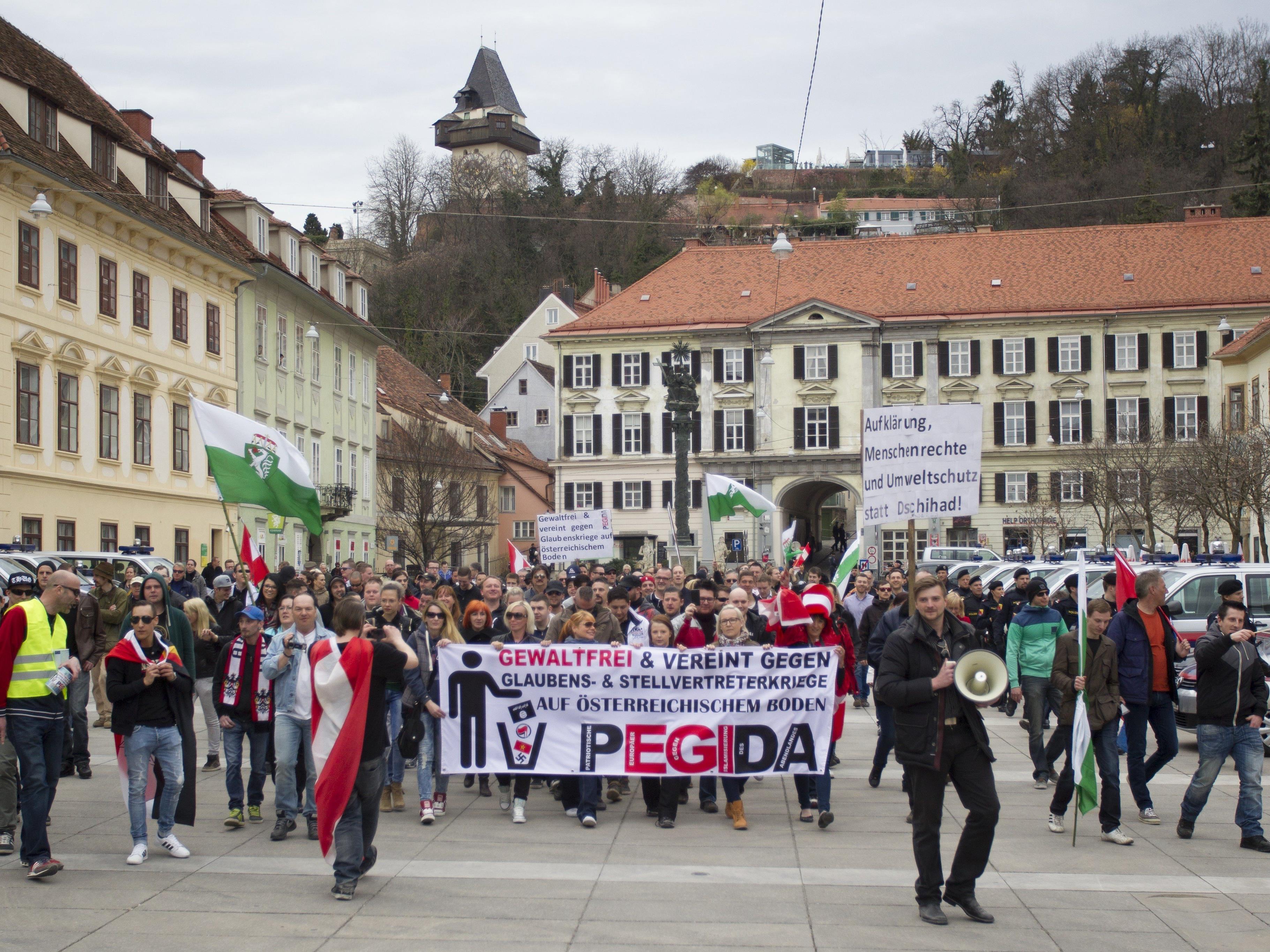 Eine Pegida-Kundgebung in Graz 2015.