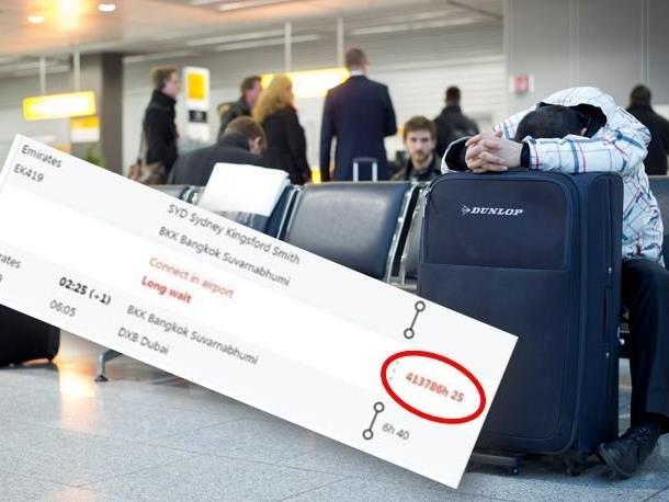 Der Mann sollte rund 50 Jahre auf seinen Weiterflug warten.