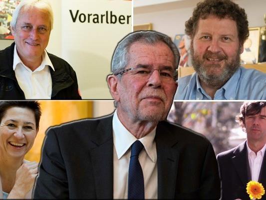 """Jutta Frick, Norbert Loacker, Josef Rupp und Stefan Sagmeister werben mit """"Vorarlberg für Van der Bellen"""" für den tiroler Präsidentschaftskandidaten."""