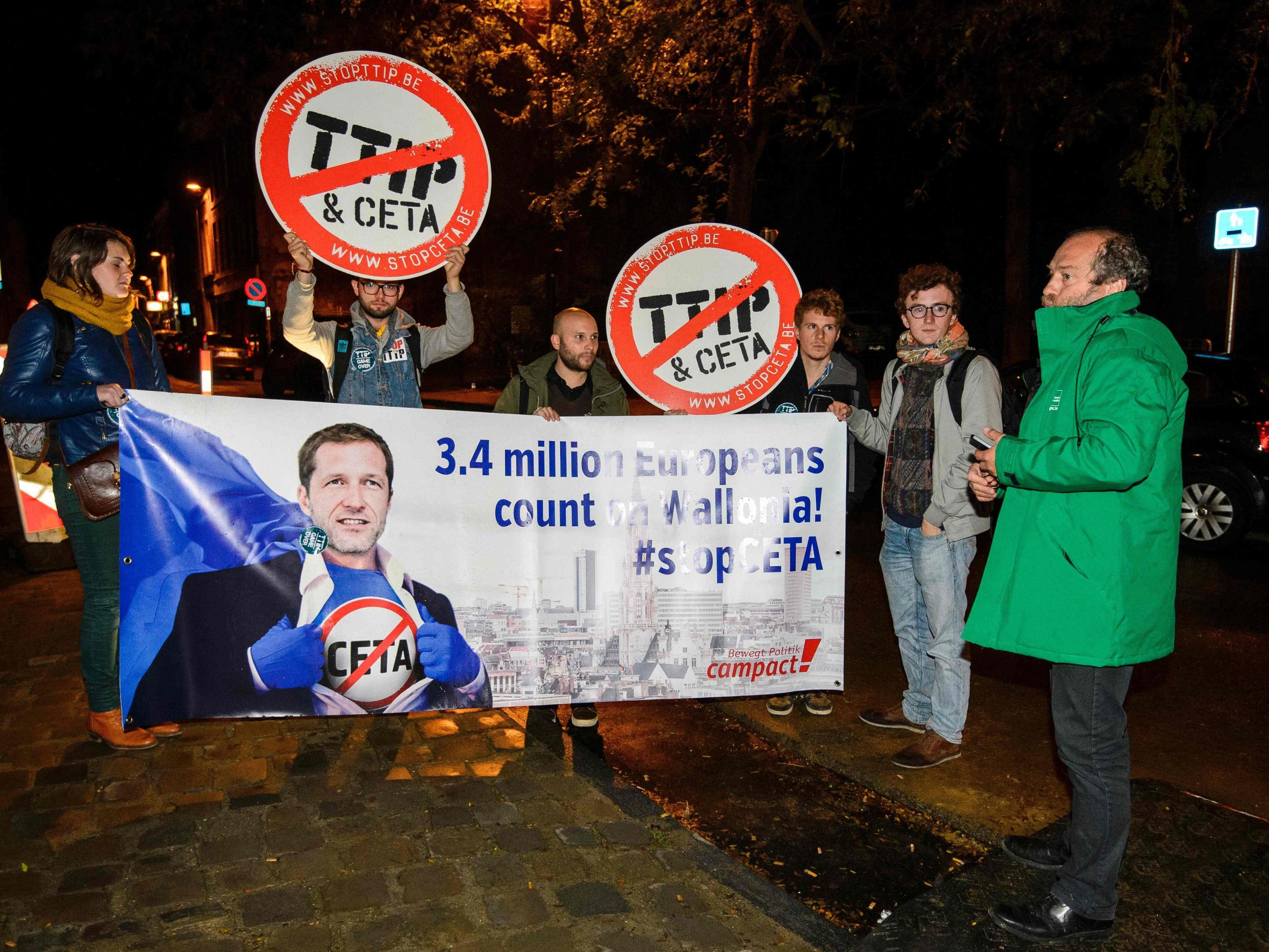 Proteste gegen CETA und TTIP in Belgien.