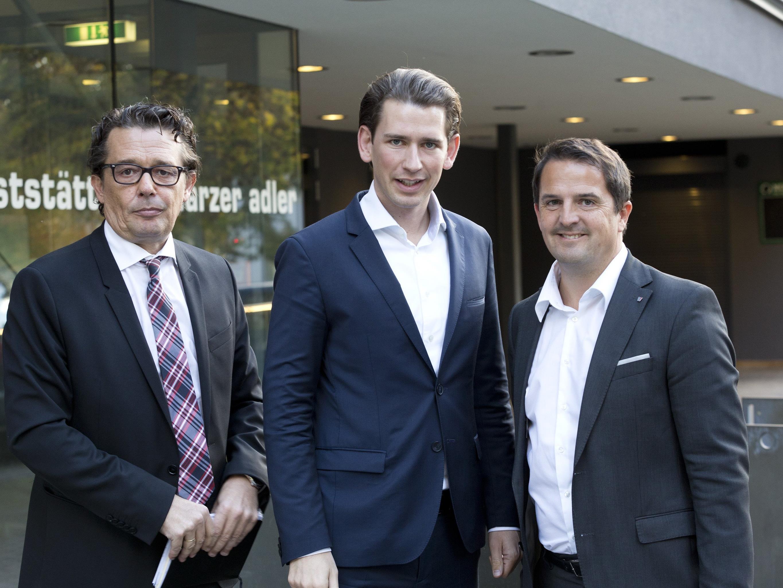 Im Bild: Hans-Peter Metzler, BM Sebastian Kurz, Juergen Kessler