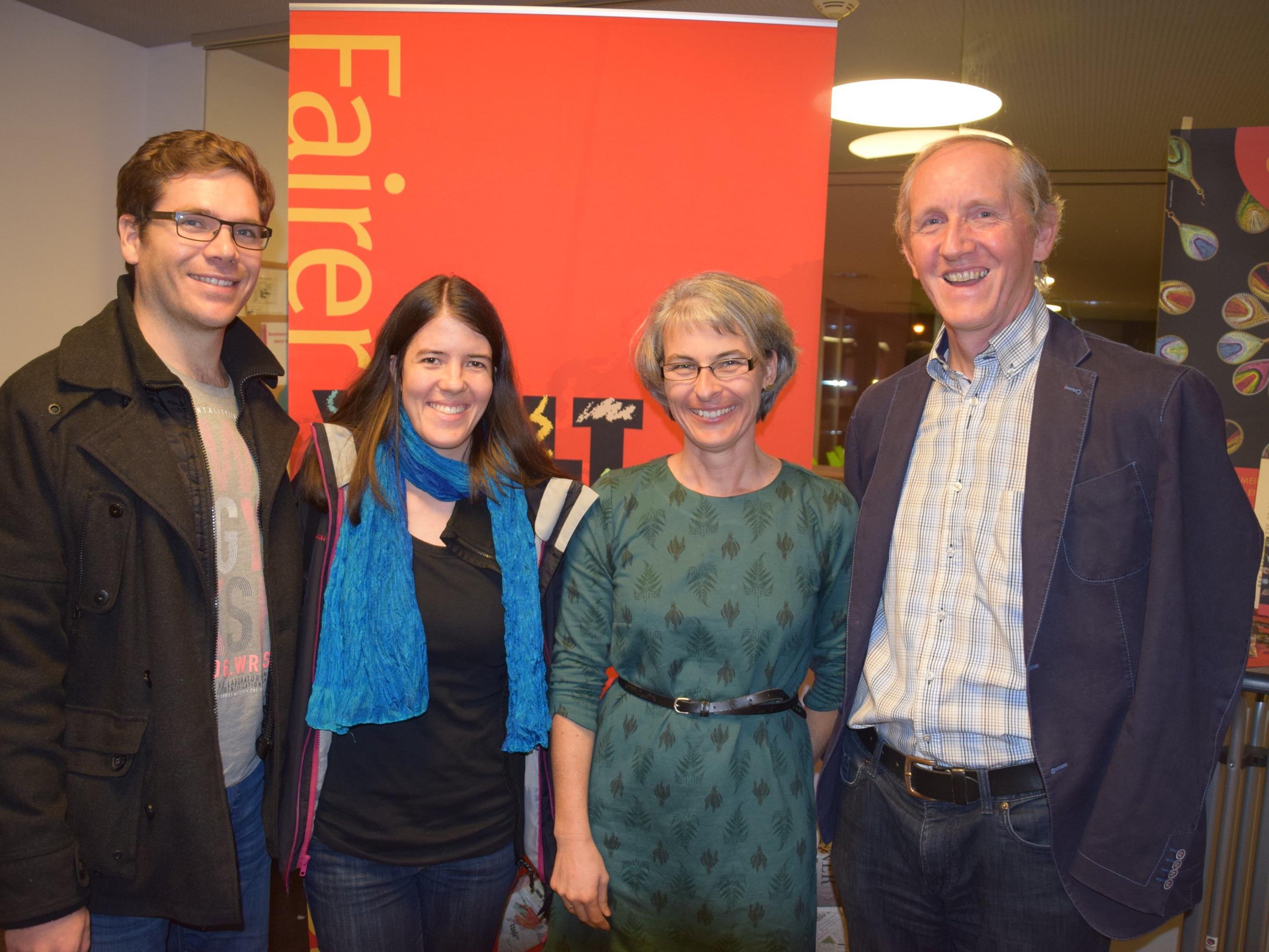 Feierten den 10. Geburtstag des Weltladen Götzis: v.l. Ludwig und Angelika De Clercq, Beate Scheier und Obmann Elmar Weissenbach