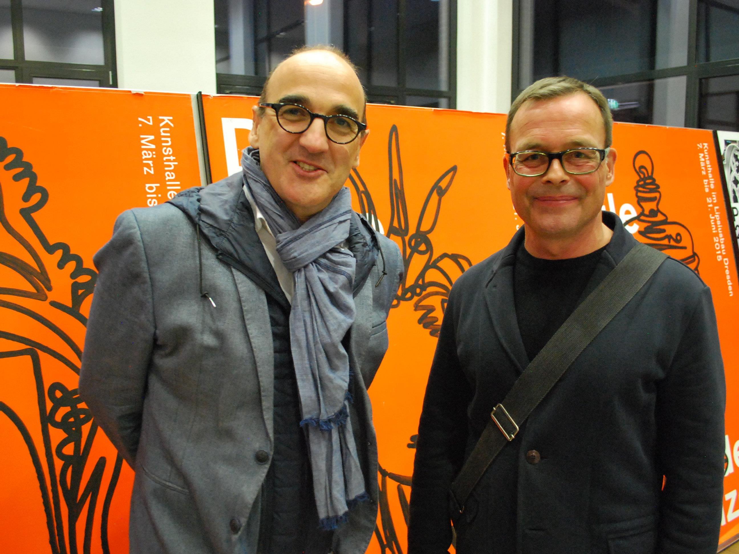 Antonino Benincasa (Freie Universität Bozen), Alexander Rufenach (FH Vorarlberg) (vl) sprachen bei der Ausstellungseröffnung im designforum Vorarlberg