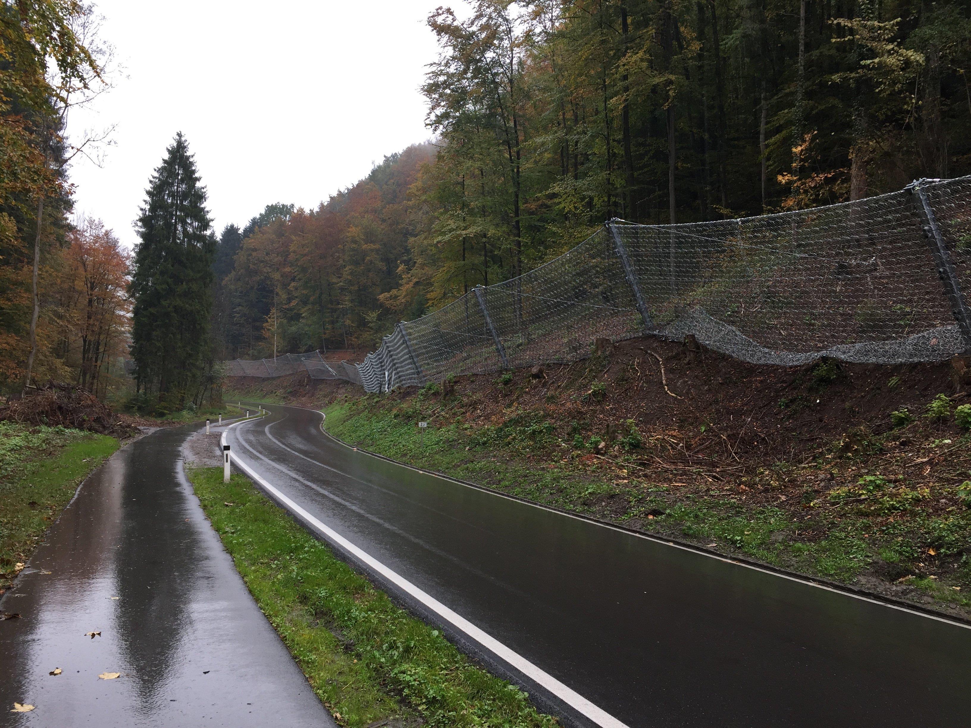 """Die Steinschlagnetze sind fertig gestellt und der Verkehr kann wieder ungehindert den """"Kluser Wald"""" passieren."""