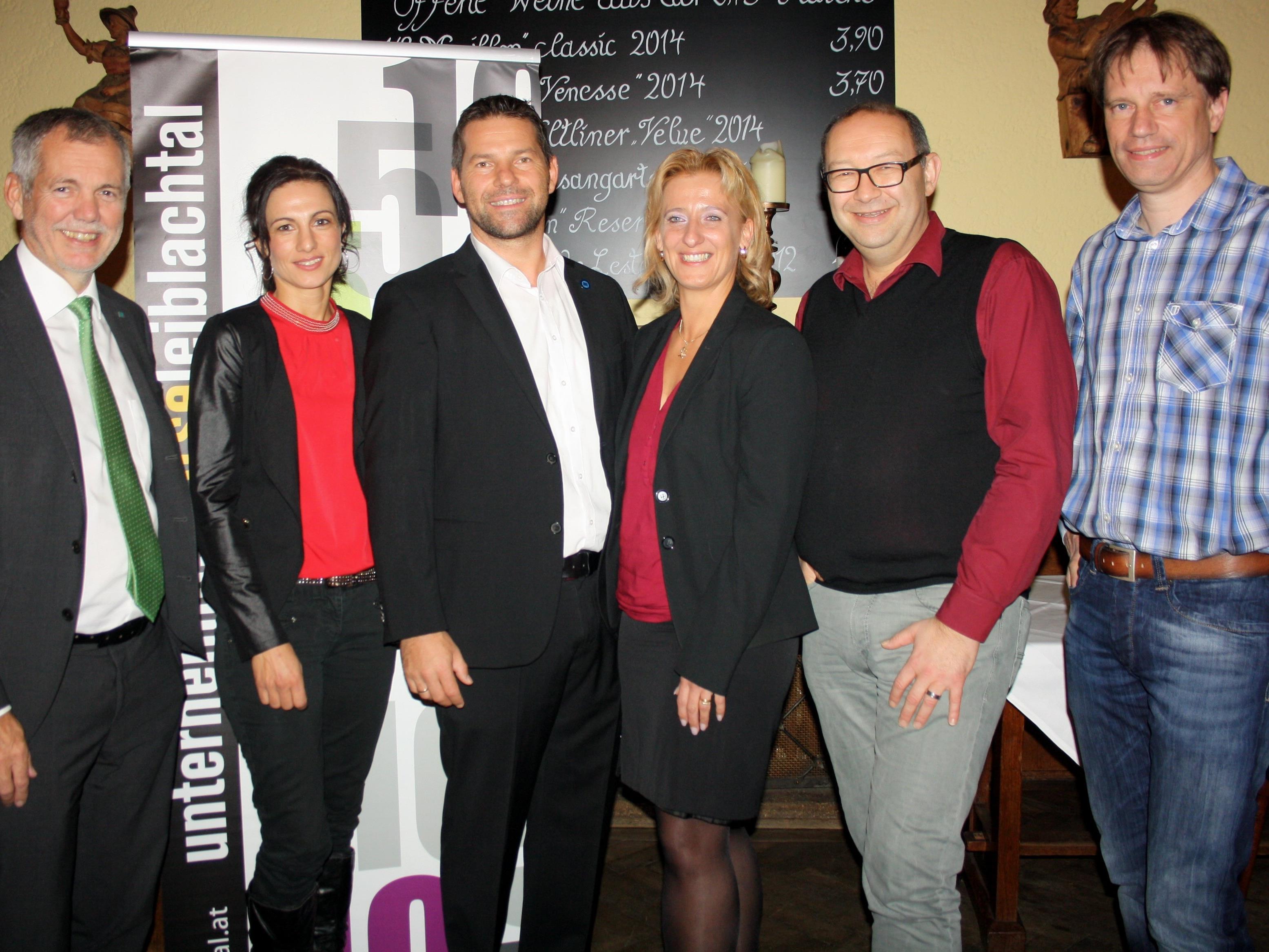 Der neu gewählte Vorstand der Unternehmerbörse Leiblachtal mit Robert Sturn, Claudia Zündel, Obmann Joachim Igl, Bianca Igl, Wolfgang Langes und Martin Smounig.