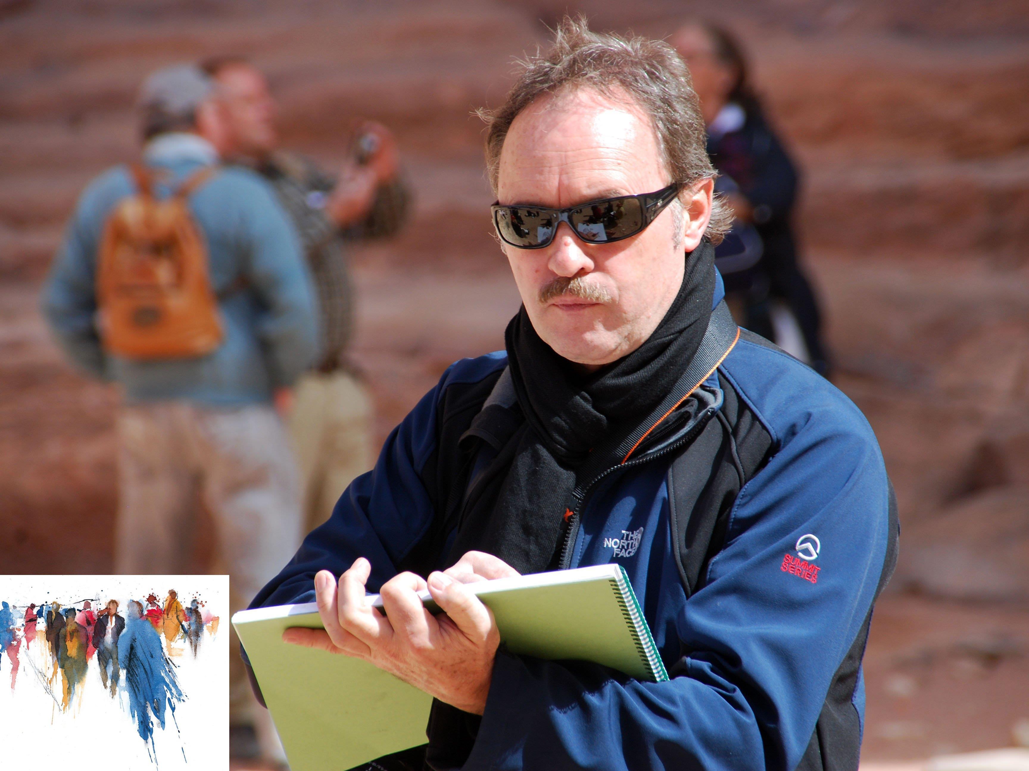 Mangold mit Skizzenblock in Petra, Jordanien. Kl. Bild links: Menschenbilder für Kunstsparbuch.