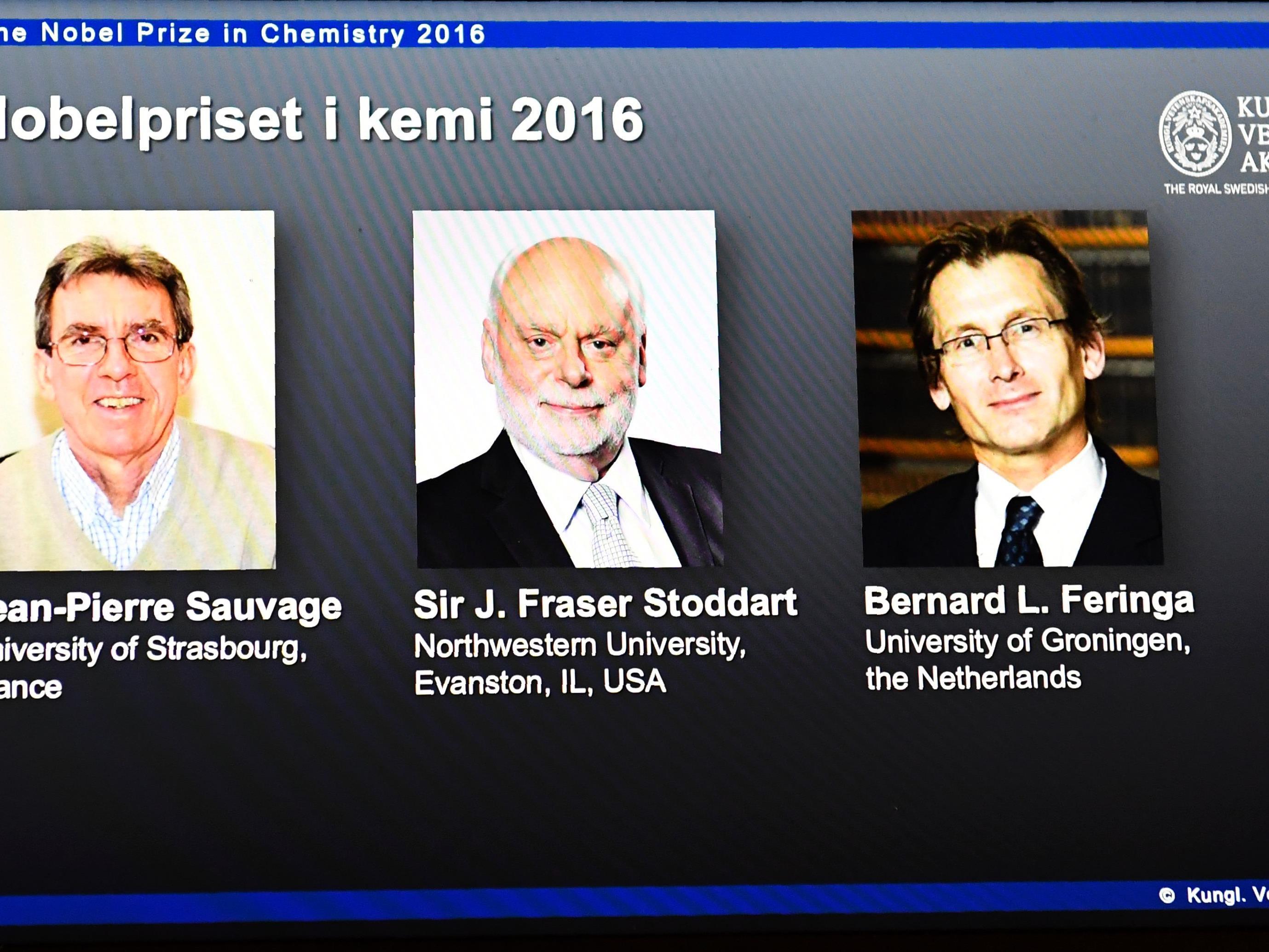 Die Gewinner des Chemie-Nobelpreises 2016.
