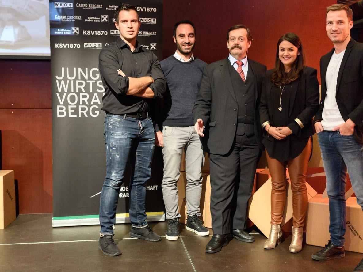 Florian Wassel (Vorstand JWV), Alexander Abbrederis (Vorsitzender JWV), Univ. Lektor Dir. Werner Gruber, Verena Eugster, Peter Flatscher (GF JWV)