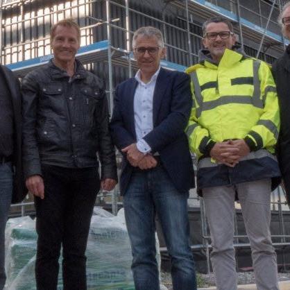 Architekt Meinhard Rhomberg, Michael Loacker, Karl Loacker, Thomas Schäfer (Geschäftsleitung Loacker) und Architekt Wolfgang Ritsch
