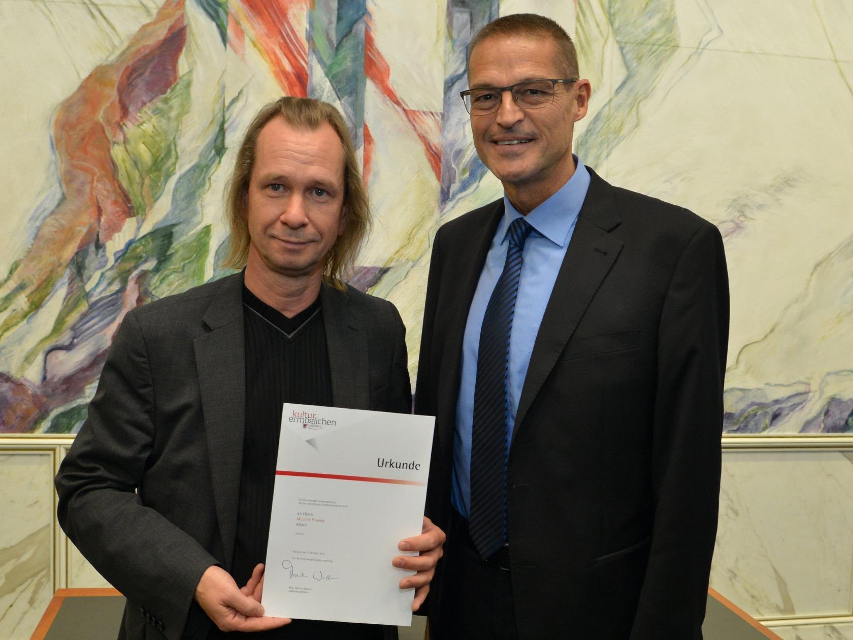 Michael Floredo erhielt den Vorarlberger Kompositionspreis 2016