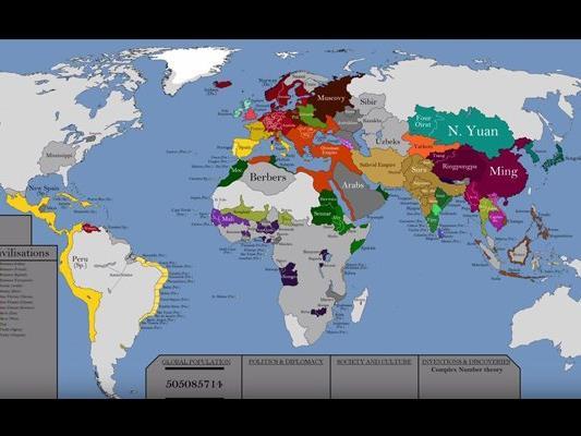Die gesamte Menschhietsgeschichte auf einer Karte: Der junge Künstler Looie Bye hat sich die Mühe gemacht.