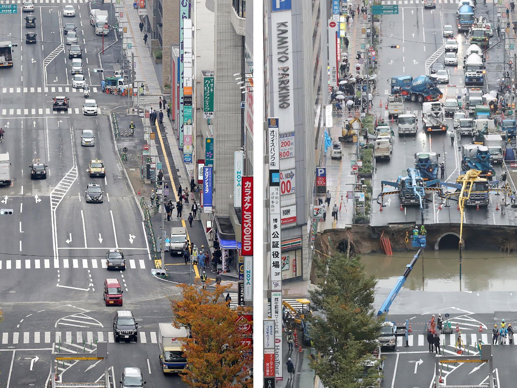 ZWischen den beiden Fotos liegen nur sieben Tage. REchts der 8.11. links der 15.11. in Fukuoka.