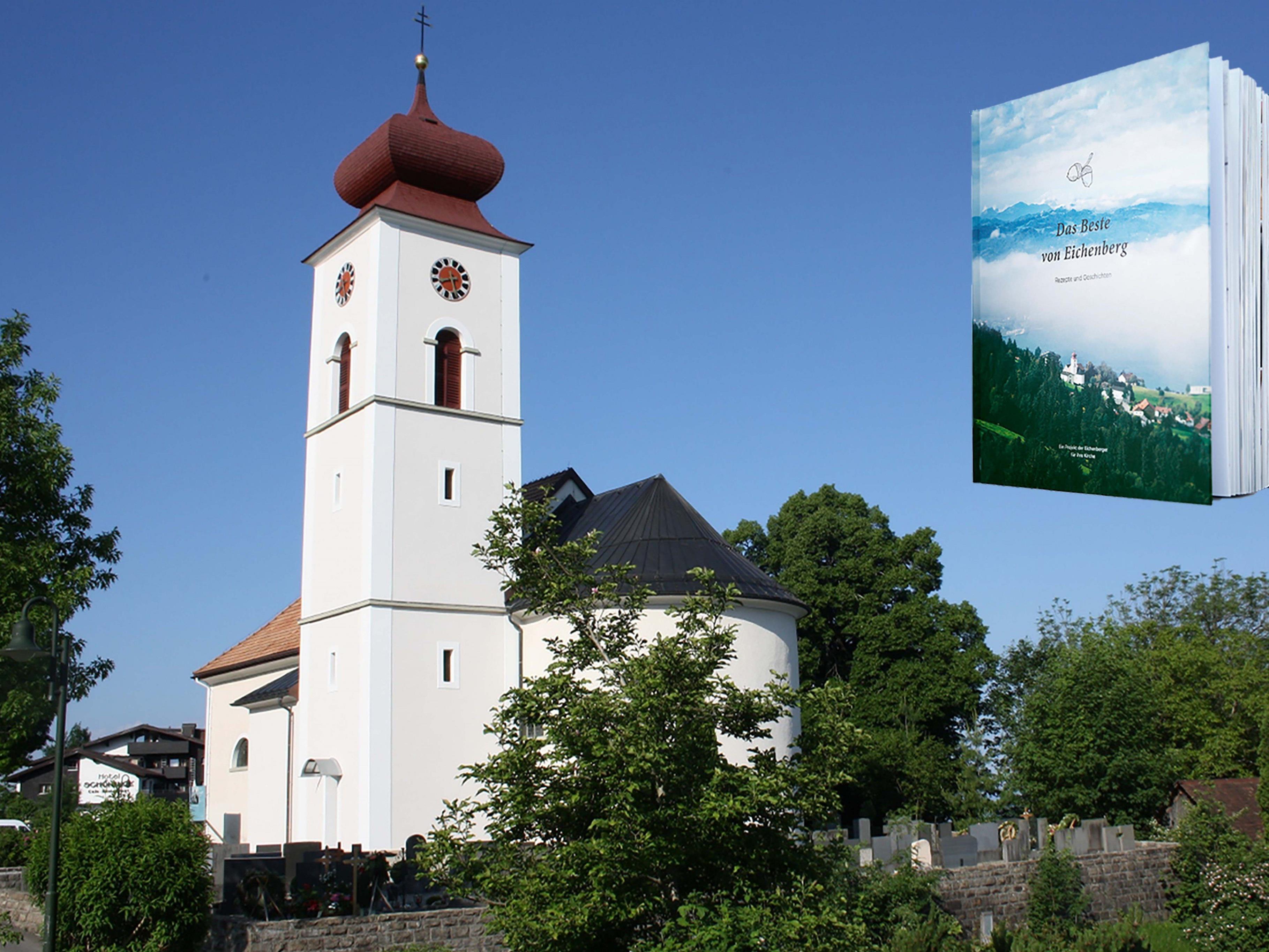 """Einladung zur Buchpräsentation """"Das Beste von Eichenberg. Rezepte und Geschichten"""" im Mehrzweckgebäude. Der Verkaufserlös kommt der laufenden Pfarrkirchenrenovierung zugute."""
