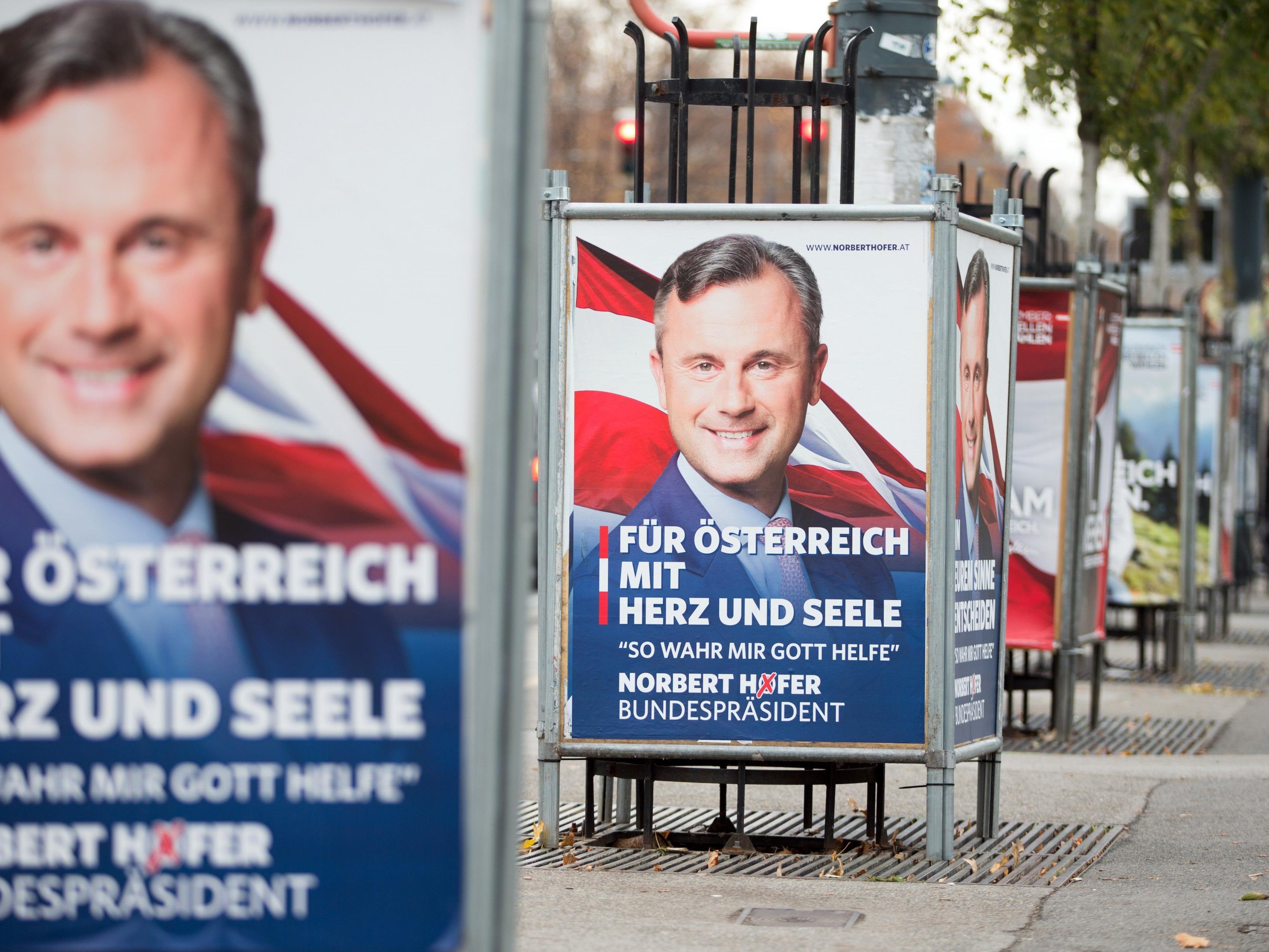 Unbekannte stahlen in der Nacht zu Donnerstag in Bregenz acht Wahlplakate von Bundespräsidentschaftskandidat Norbert Hofer.