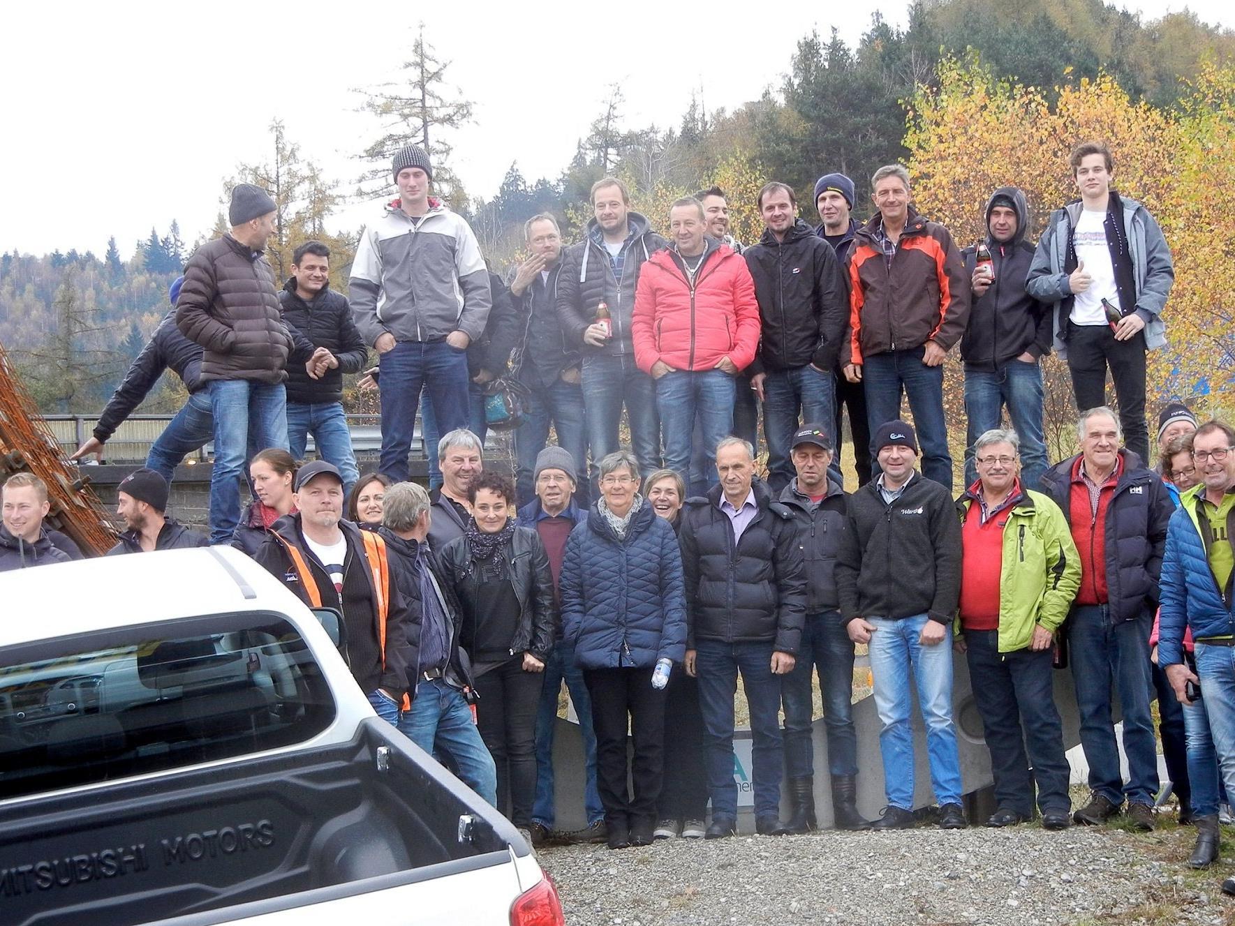 Zunftverein Au auf der Baustelle des Brenner Basistunnels in Tulfes