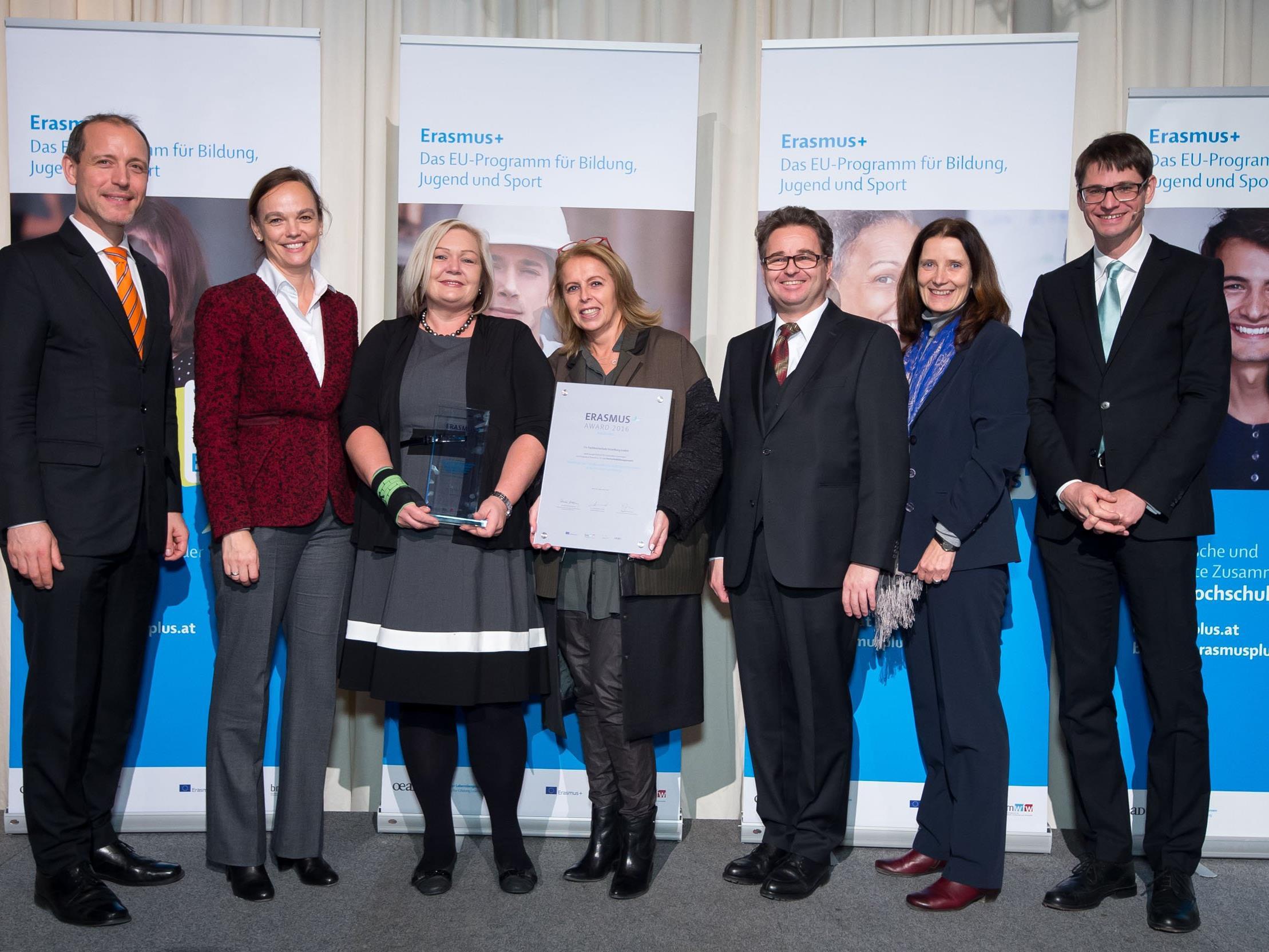 Die FH Vorarlberg wurde mit dem Erasmus+ Award 2016 ausgezeichnet.