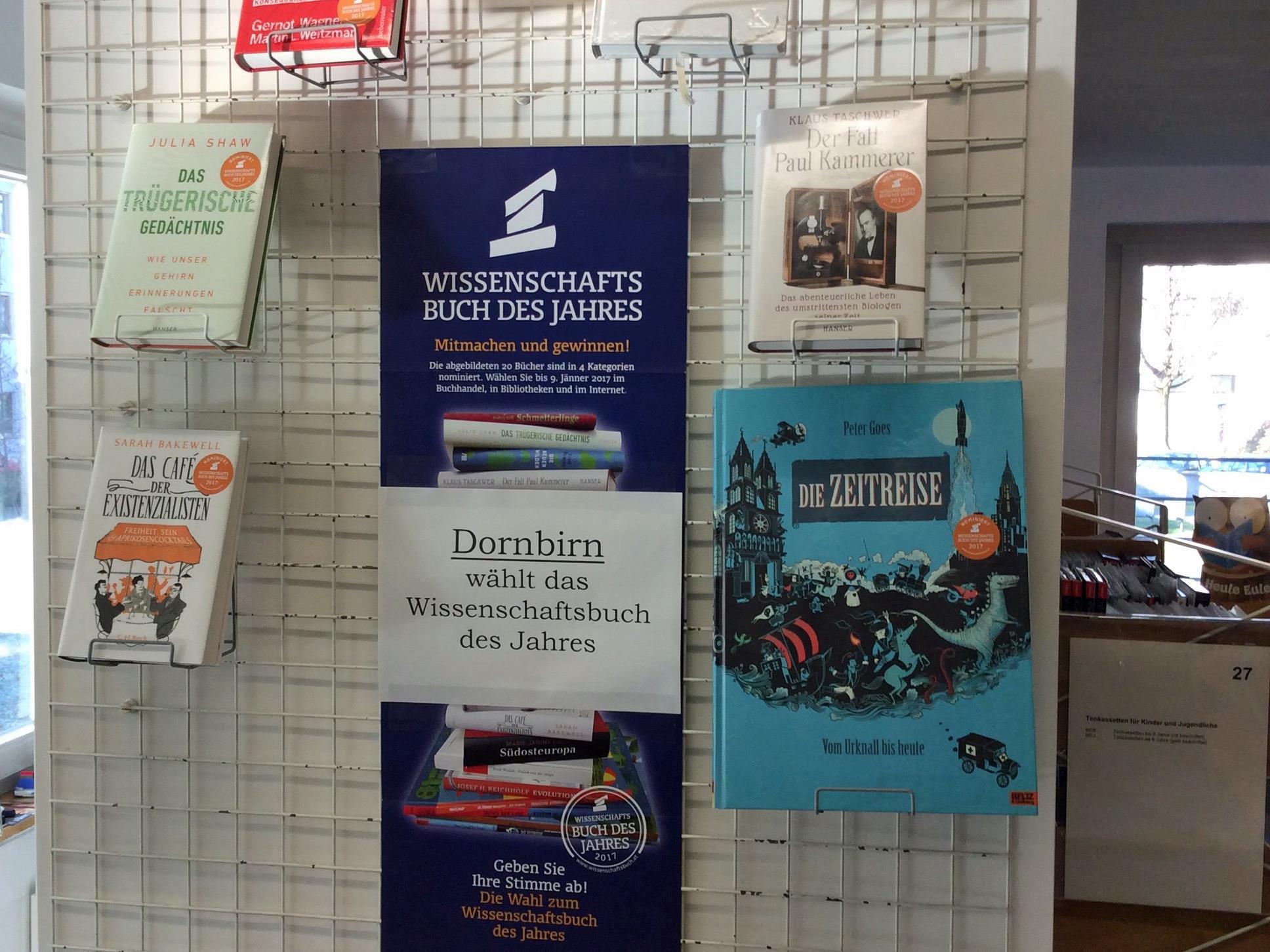 Die nominierten Bücher sowie die Möglichkeit zur Stimmabgabe gibt es in der Dornbirner Stadtbücherei.