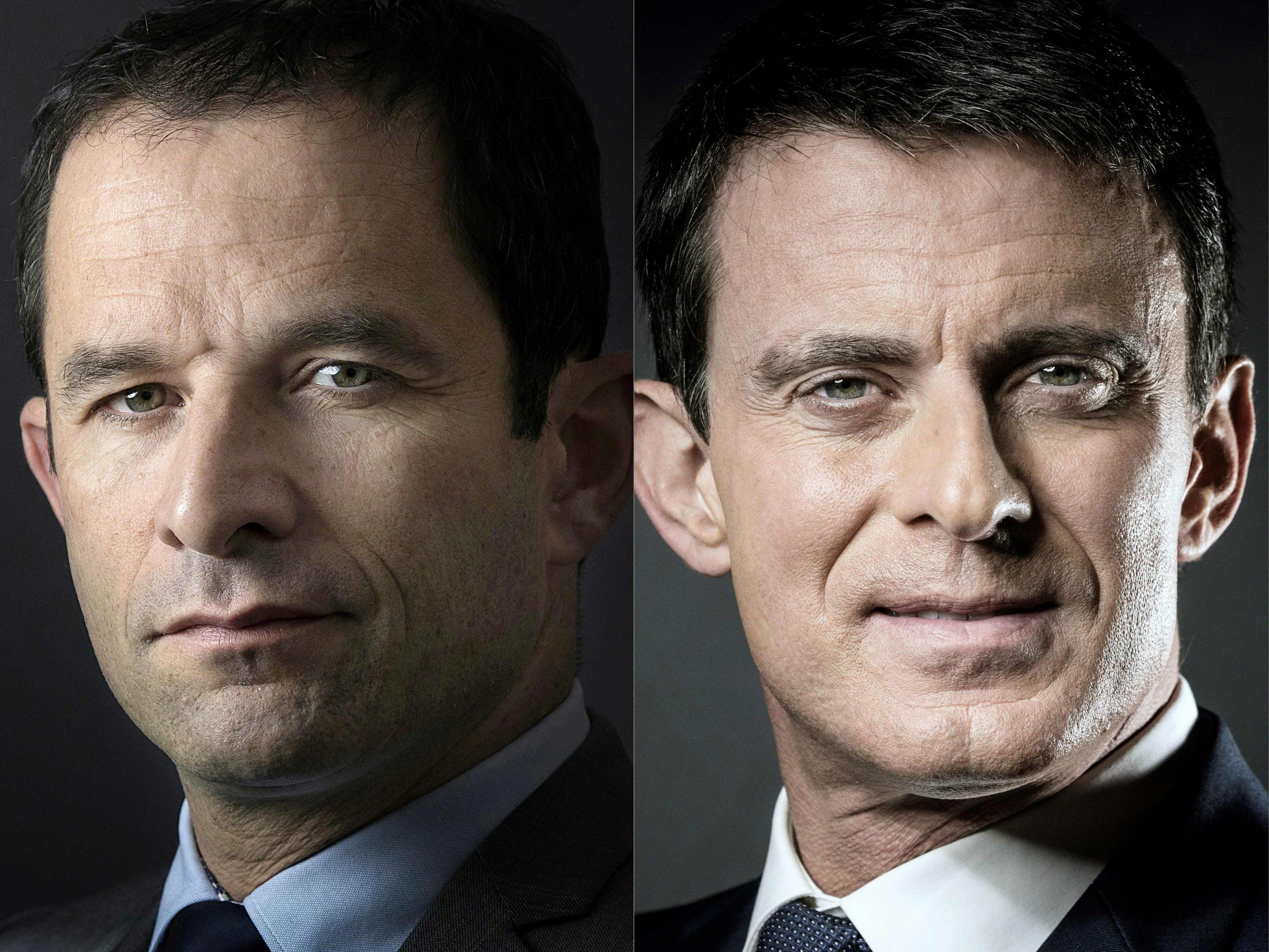 Hamon (links im Bild) und Valls.