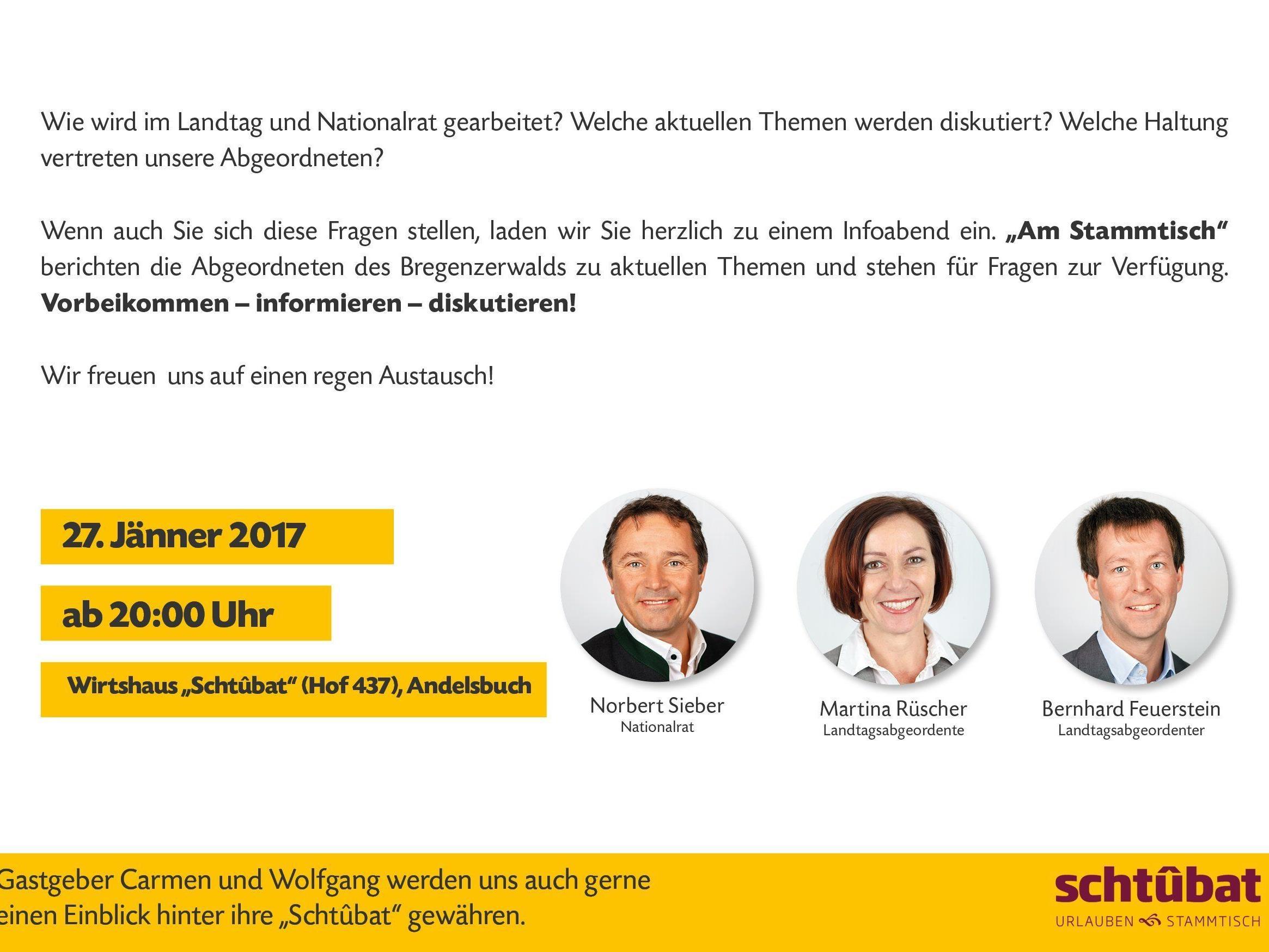 Die Abgeordneten des Bregenzerwalds stehen am kommenden Freitag gerne in Andelsbuch Rede und Antwort