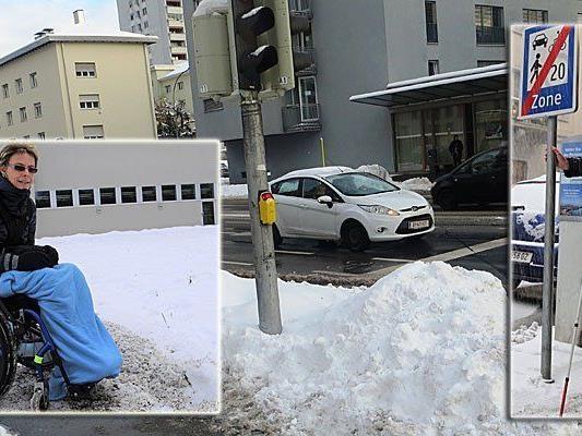 Niedrige Schilder und unzureichende Schneeräumung sind nur zwei von vielen Problemen die Behinderte in Vorarlberg noch immer zu meistern haben.