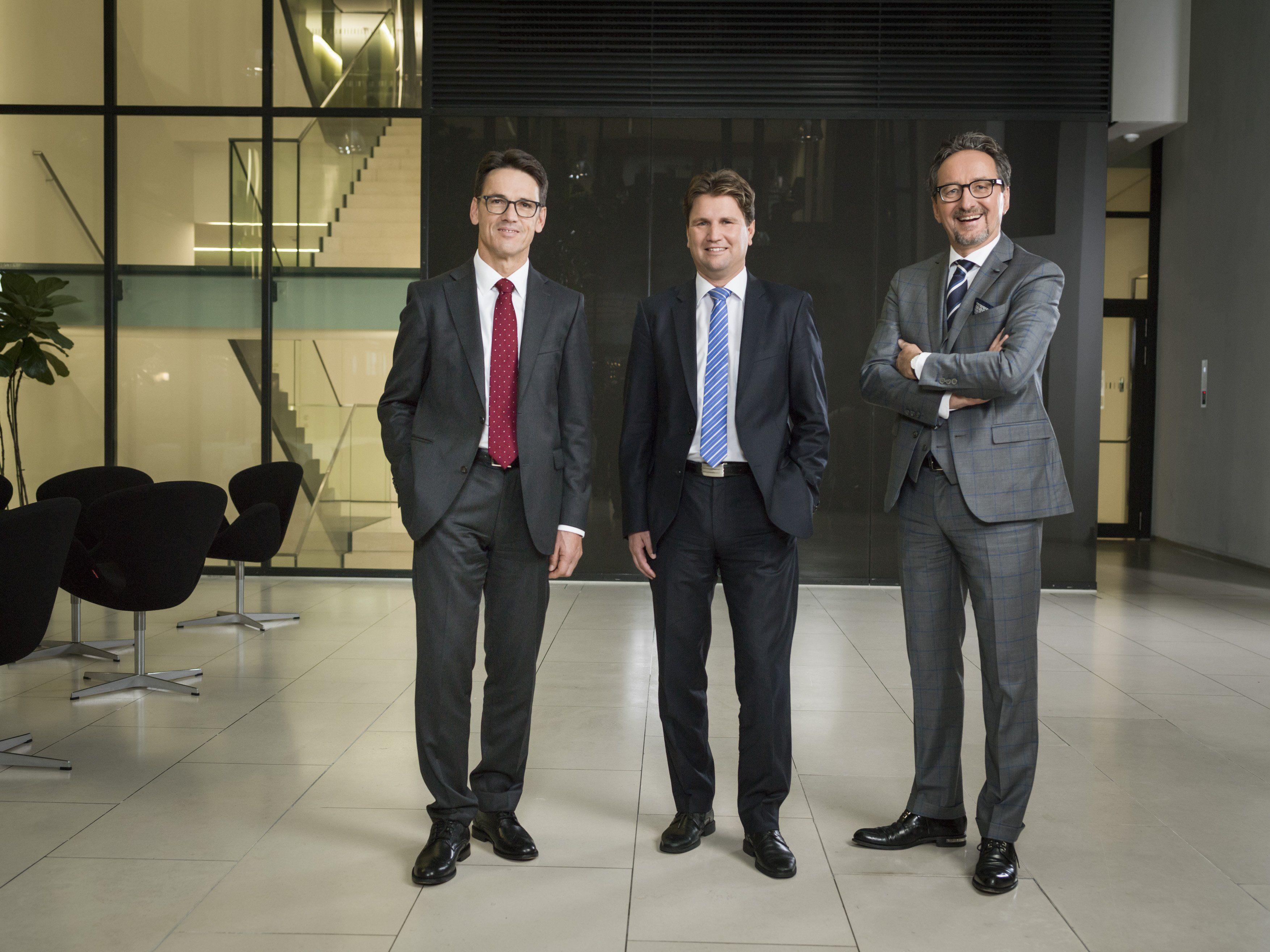 Der neue Vorstand der Hypo Vorarlberg: Wilfried Amann, Michel Haller und Johannes Hefel (v.l.)