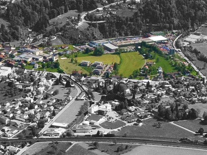 Wolfurt stellt den Masterplan für die Ortsteilentwicklung Rickenbach (grün eingefärbt) vor.