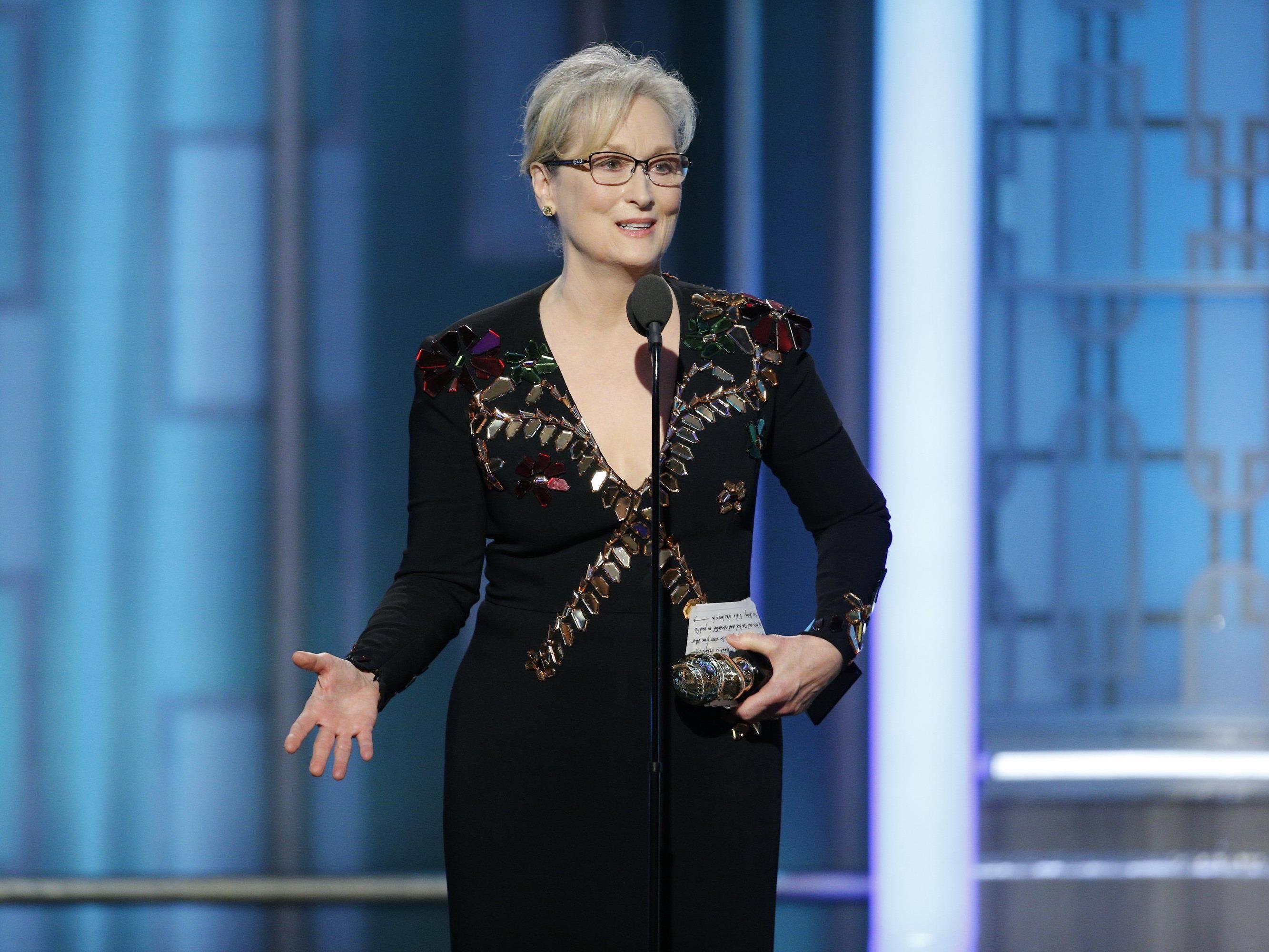 Meryl Streep während ihrer Rede bei den 74. Golden Globe Awards.
