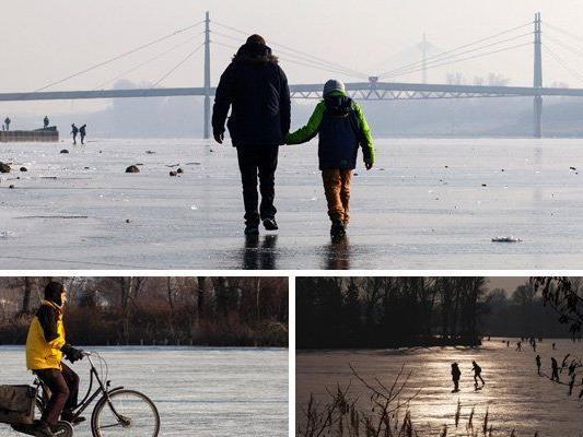 Alte und Neue Donau in Wien sind derzeit zugefroren.