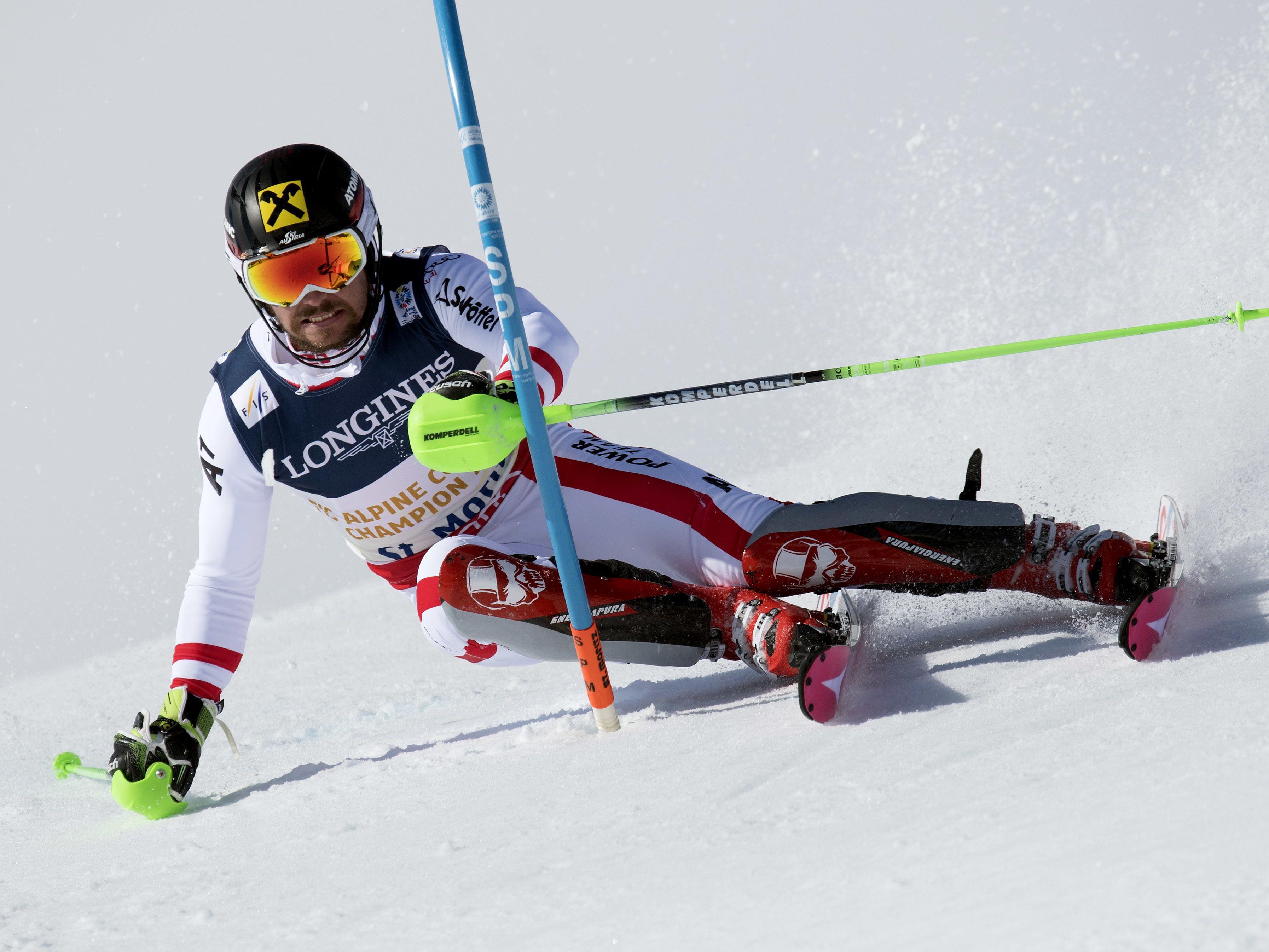 Marcel hirscher auf dem Weg zu Kombinations-Silber - Sensations-Heimsieg durch Schweizer Luca Aerni in St. Moritz.