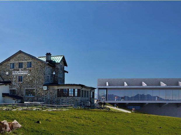 Nur eines von vielen Problemen für die Gegner des Patscherkofel-Projektes: Die neue Bergstation direkt vor dem Schutzhaus.