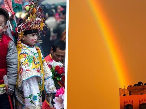 Kinder bei einem Festival in China. Das zweite Bild ist aus Palästina.