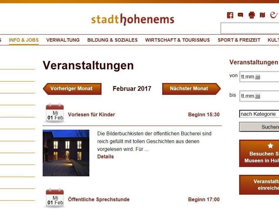 Das Geschehen in Hohenems auf einen Blick: www.hohenems.at/kalender