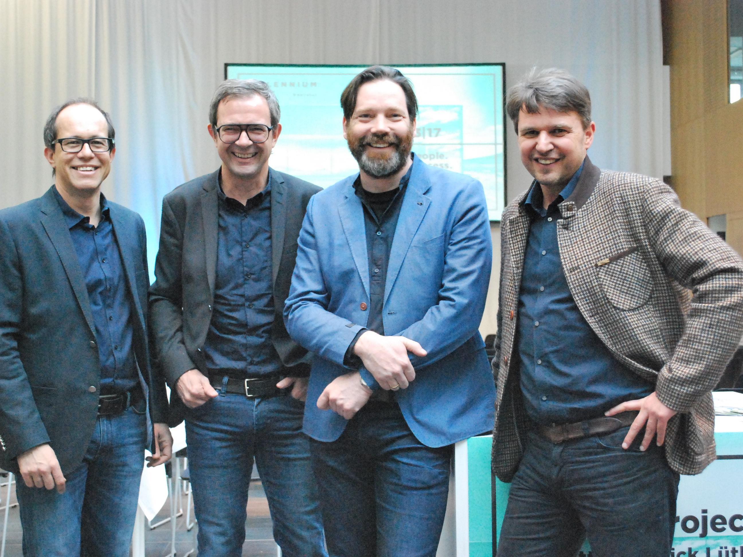 Sergej Kreibich, go biq, Bernhard Ölz, PRISMA, Patrick Lüth, Snøhetta, Kurt Fischer, Bürgermeister  (vl)