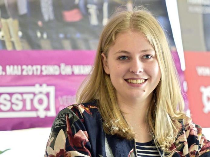 Hannah Lutz, bundesweite Spitzenkanditatin des VSStÖ für die ÖH-Wahlen.