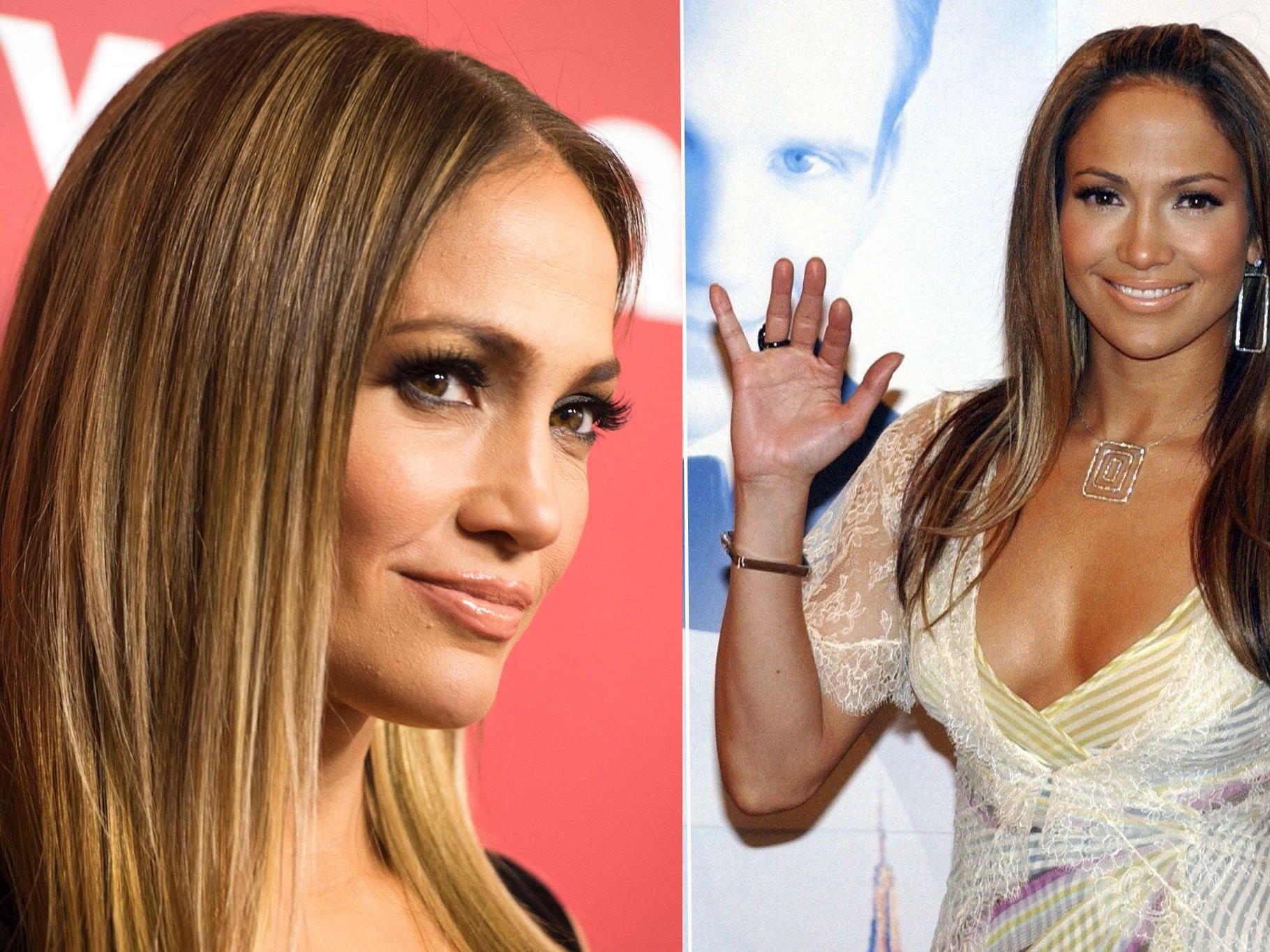Jennifer Lopez einmal 2017 und 2003.