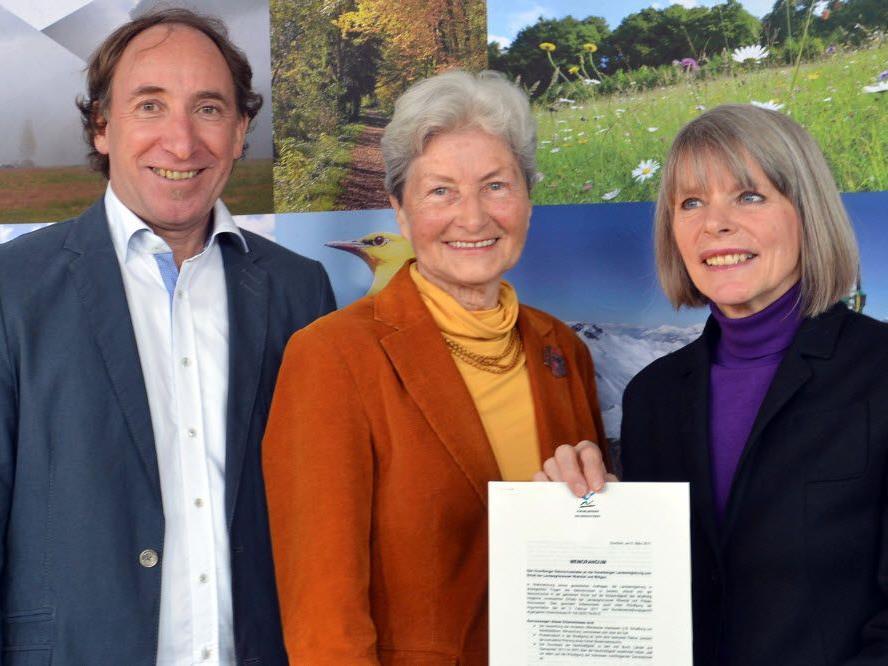 Umweltlandesrat Johannes Rauch, Hildegard Breiner, Vorsitzende des Vorarlberger und Naturschutzbundes Gerlind Weber, Vorsitzende des Naturschutzrates