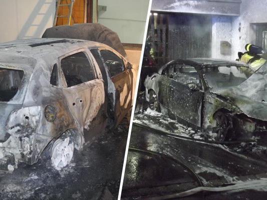 Unbekannte Täter haben in der Nacht auf Samstag in Höchst und in Hard zwei Autos in Brand.