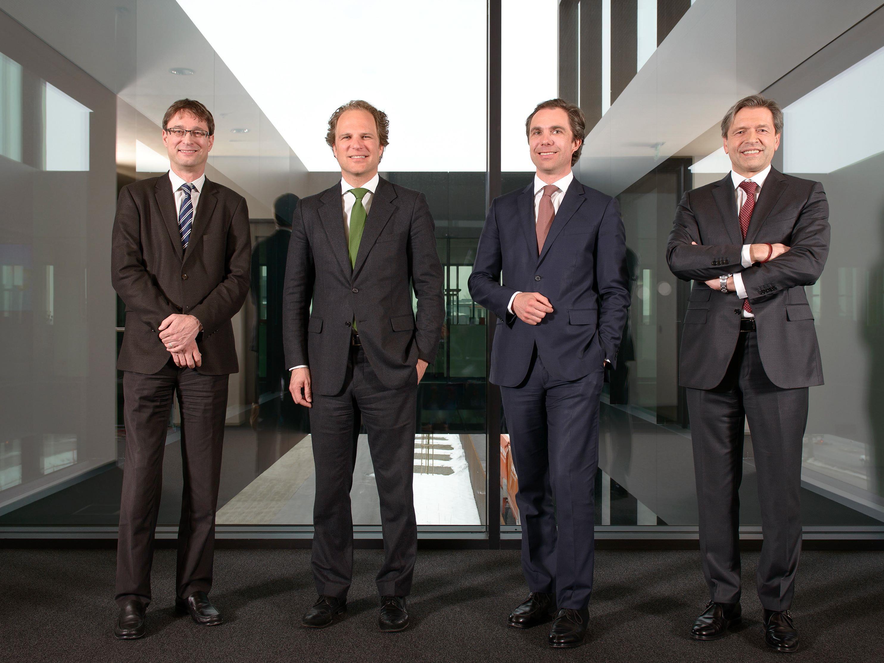 Der Gebrüder Weiss Vorstand (v.l.n.r.): Peter Kloiber, Heinz Senger-Weiss, Wolfram Senger-Weiss und Vorstandsvorsitzender Wolfgang Niessner.