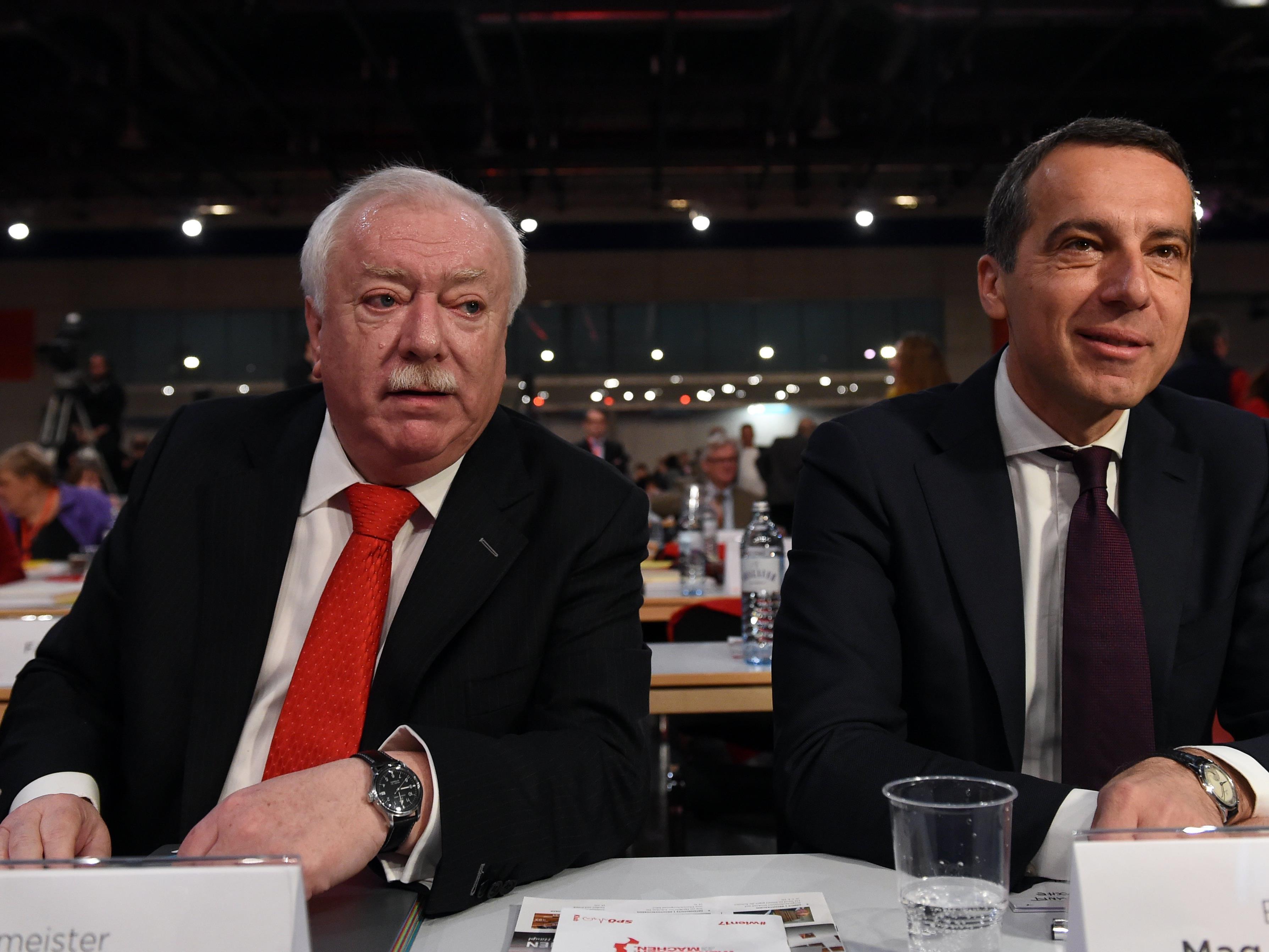 Beim SPÖ Parteitag in Wien: Häupl und Kern