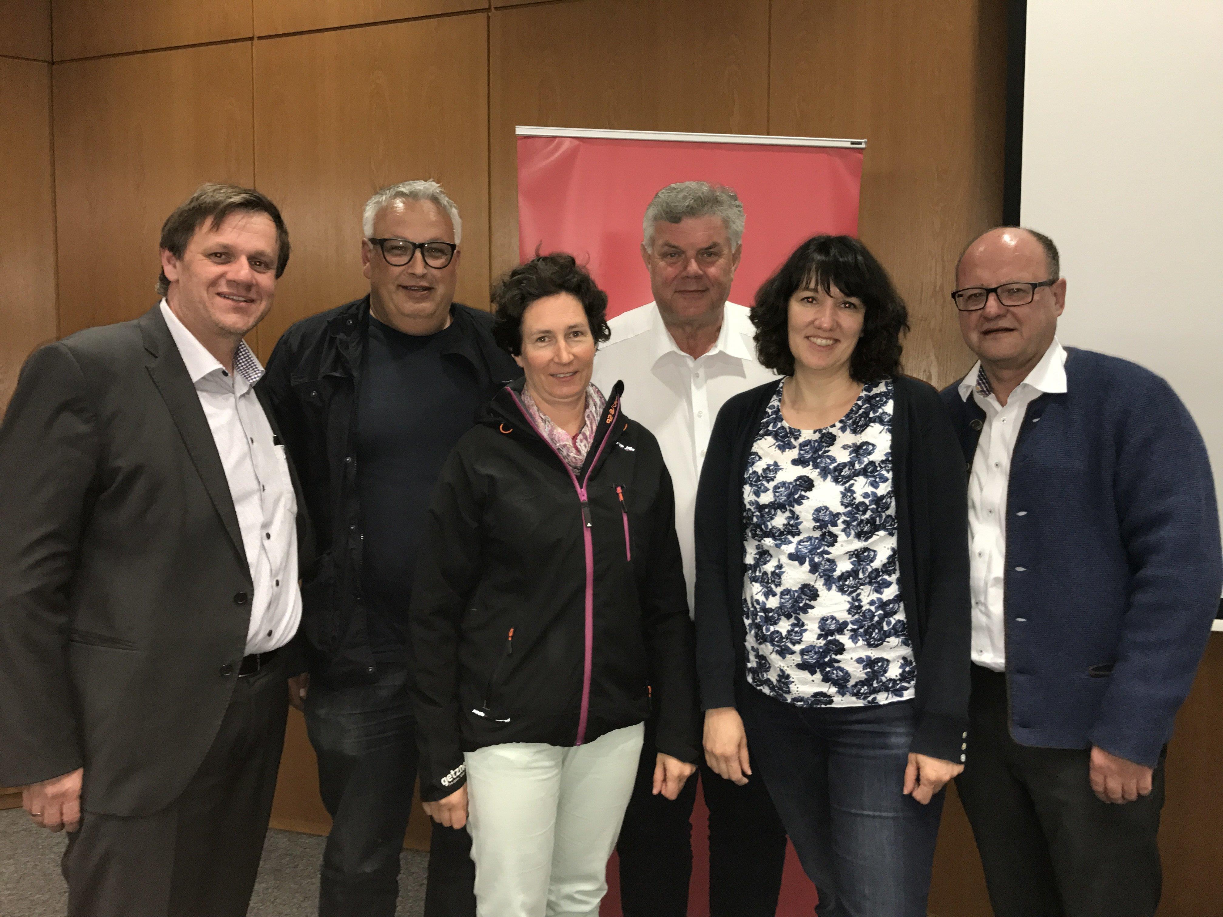 Das Führungsteam der Bludenzer Volkspartei: Thoma, Bandl, Brandstetter, Katzenmayer, Biedermann-Smith und Krump.