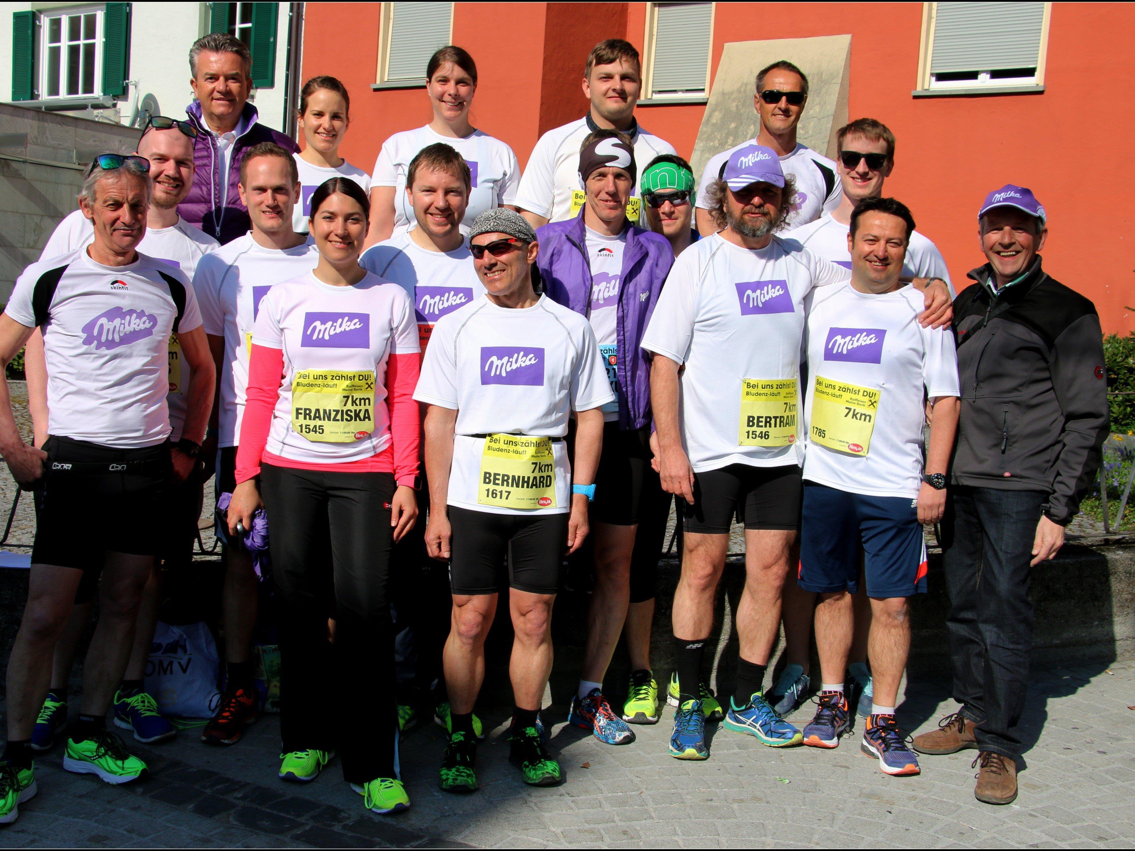 Die Läufer der Laufgruppe Milka bei Bludenz läuft.