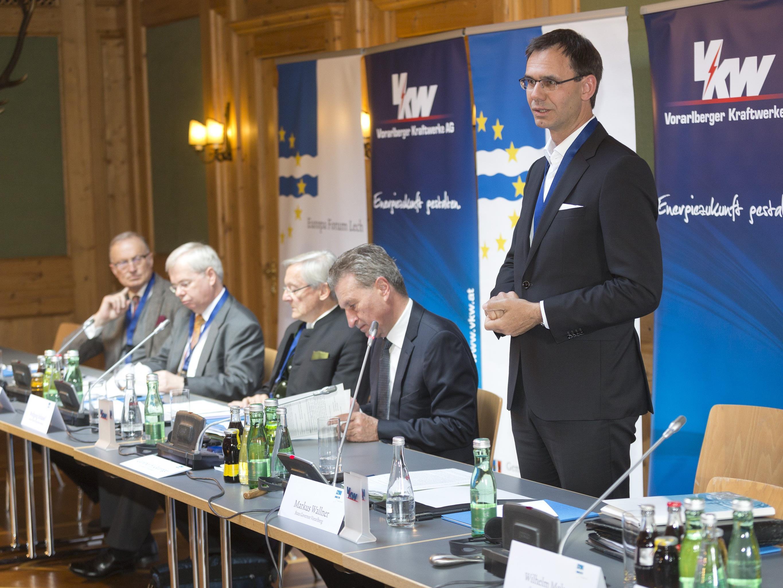 Landeshauptmann Markus Wallner bei der Eröffnung des Europaforum Lech 2017, das zum bereits sechsten Mal unter der Patronanz von EU-Kommissar Günther H. Oettinger stattfindet.