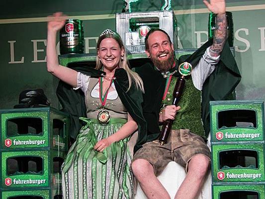 Frisch gekrönt: Die 4. Vorarlberger Bierkönigin Katharina Pfitscher und der 1. Vorarlberger Bierkönig Roland Ladinig.