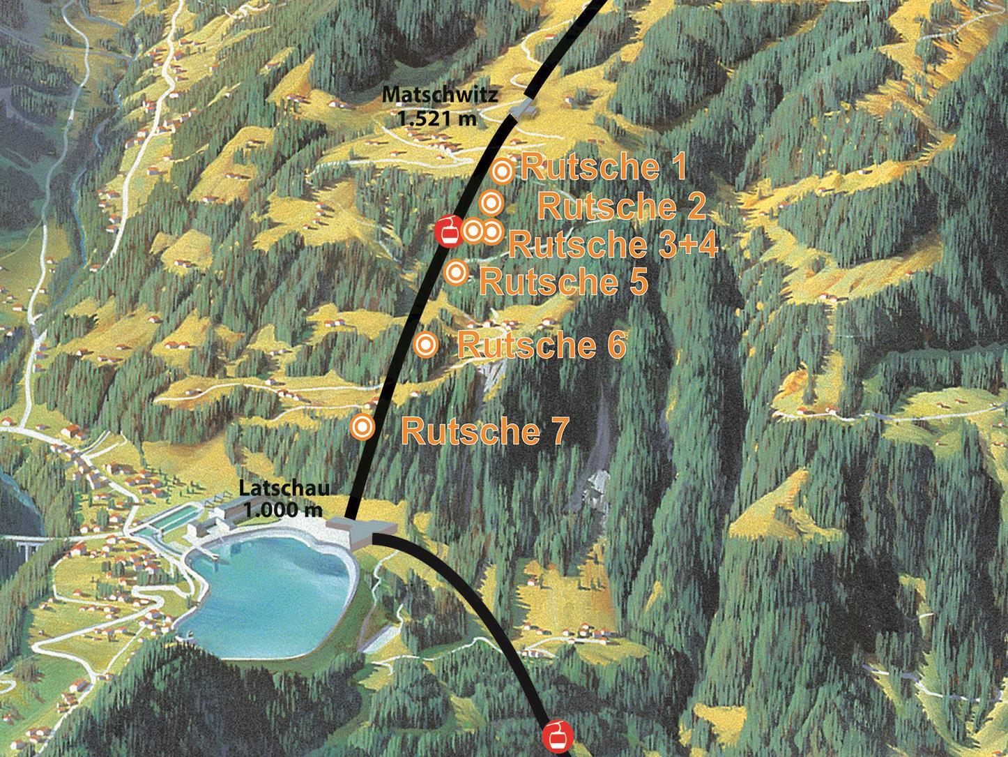 Der neue Waldrutschenpark: 7 Rutschen mit insgesamt 350 Rutschenmetern und 500 Höhenmetern.