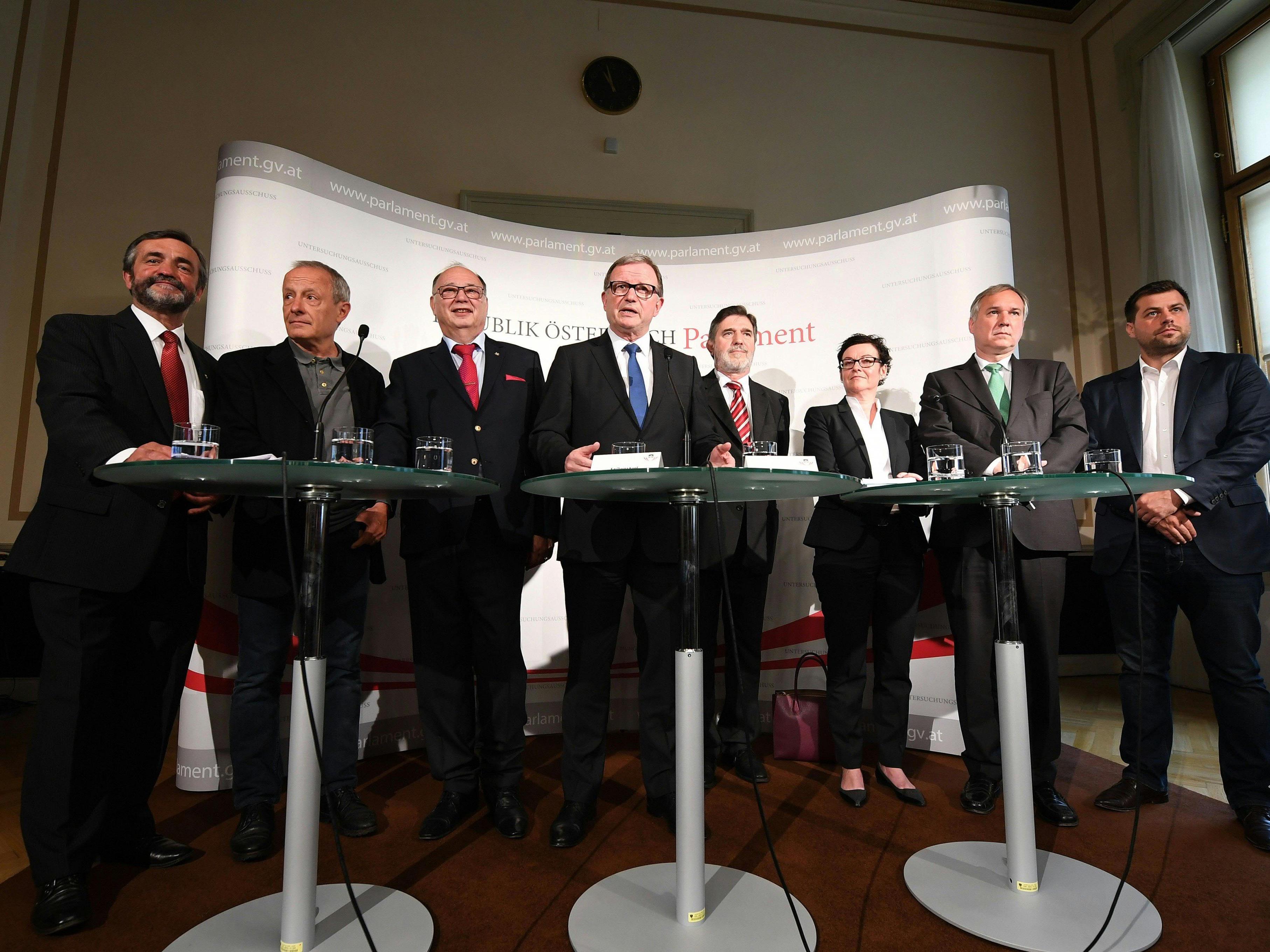 Die Mitglieder des Eurofighter-U-Ausschusses.