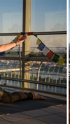 Diana Lueger begeisterte die Besucher mit gemeinsamem Yoga in der Abendsonne am Donauturm